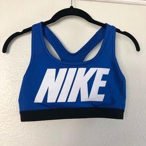 NIKE Dri-Fit Classic Blue White Sports Bra XS